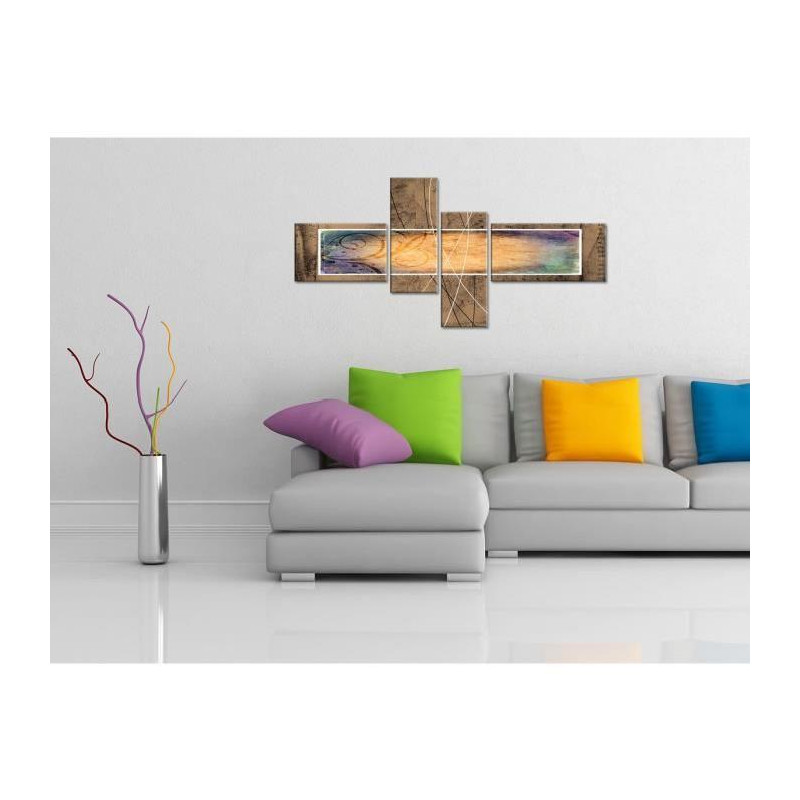 wood tableau multi panneaux 130x65 cm jaune abstrait. Black Bedroom Furniture Sets. Home Design Ideas