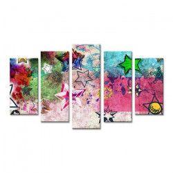 GRAFFITI Tableau multi panneaux 150x80 cm multicolore abstrait