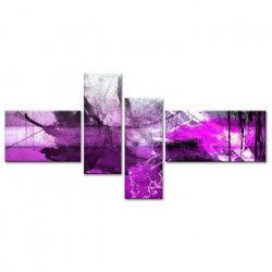 ESTAMPE Tableau multi panneaux 130x65 cm violet abstrait