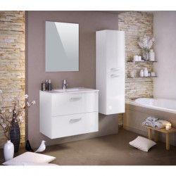 STELLA Ensemble salle de bain simple vasque avec miroir L 80 cm - Blanc laqué brillant