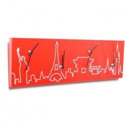 CLOCK Horloge Pendule rectangulaire - 60x18cm - Rouge
