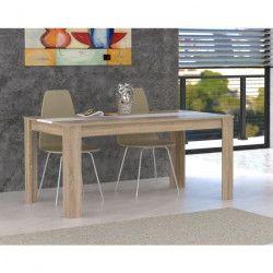 FINLANDEK Table a manger ELÄMÄ de 6 a 8 personnes style contemporain en bois aggloméré décor chene et blanc
