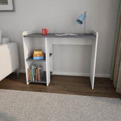 COBI BR Bureau contemporain mélaminé blanc et gris foncé mat - L 100 cm