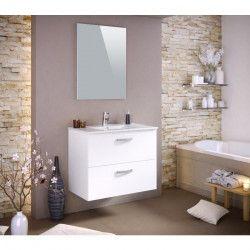 STELLA Ensemble salle de bain simple vasque avec miroir L 80 cm - Blanc mat