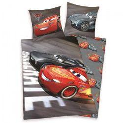 CARS 3 Parure de couette 100% Coton - 1 housse de couette 140x200cm + 1 taie d`oreiller 65x65cm gris et rouge