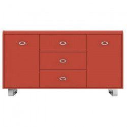 GIPSY Buffet vintage - Rouge et pieds métal - L 153 cm