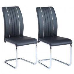 INES Lot de 2 chaises de salle a manger - Simili noir - Contemporain - L 43 x P 59 cm