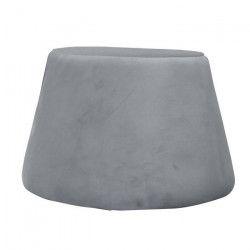 TODAY Pouf velours WASA gris givré H31,5 cm Diametre 46,5 cm