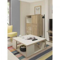 VANILLE Table basse carrée scandinave beige creme - L 90 x l 90 cm