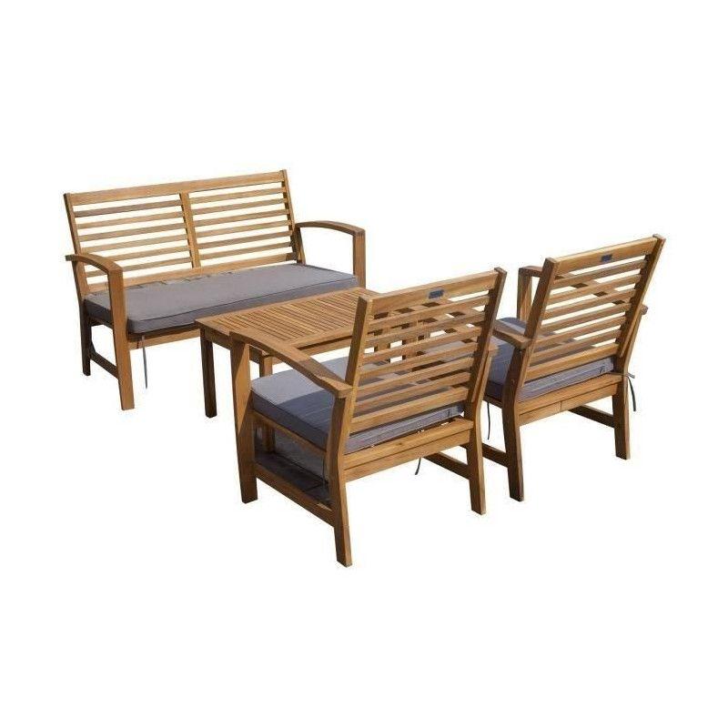FINLANDEK - Salon de jardin 4 places en acacia - Gris -