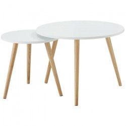 LOLA Lot de 2 tables d`appoint rondes scandinave laqué blanc mat - Ø 60 cm et Ø 40 cm