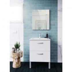 STELLA Ensemble salle de bain simple vasque avec miroir L 60 cm - Blanc mat