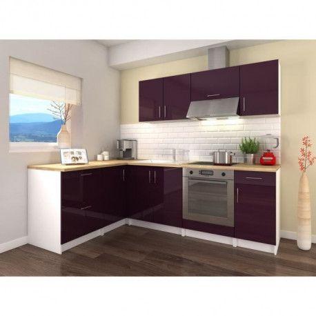 obi cuisine complete d angle l 280 cm aubergine. Black Bedroom Furniture Sets. Home Design Ideas