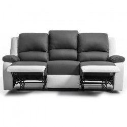RELAX Canapé de relaxation droit 3 places - Simili gris et blanc - Contemporain - L 190 x P 93 cm