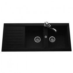 EWI Evier cuisine a encastrer 2 bacs + 1 égouttoir Pandora - Granit - 116 x 50 cm - Noir
