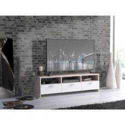 FINLANDEK Meuble TV HELPPO contemporain décor chene et blanc - L 120cm