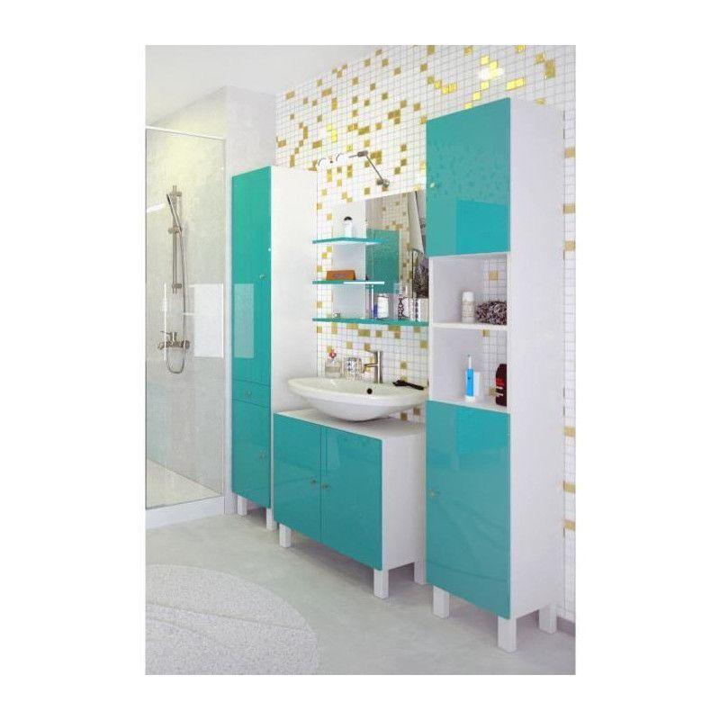 CORAIL Meuble miroir de salle de bain L 60 cm - Bleu