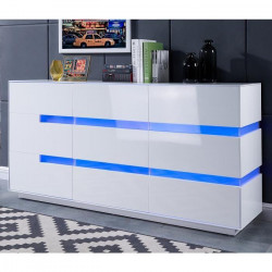 DALLAS Buffet contemporain Laqué blanc brillant- L 162 cm