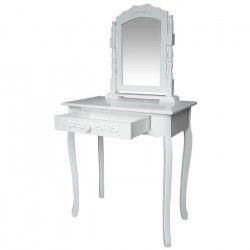 LAURA Coiffeuse - 1 tiroir et 1 miroir - blanc -L 74 x P 40 cm
