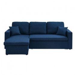 ASPEN Canapé d`angle réversible convertible 3 places - Tissu bleu jean - Contemporain - L 223 x P 150 cm