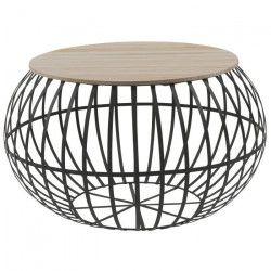 NEST Table basse ronde style industriel naturel et noir - L 65 x l 65 cm