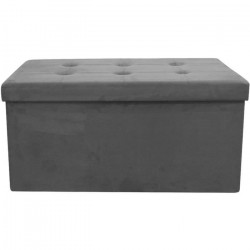 Coffre Banc Pouf pliable en tissu - 76,5x37,5x37,5 cm - Gris Foncé