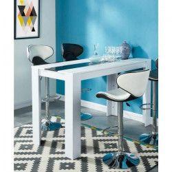 DAMIA Table a manger de 4 a 6 personnes style contemporain blanc et noir mat - L 150 x l 70 cm