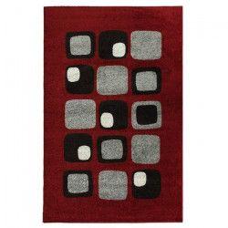 COSI Tapis de salon 160x220 cm rouge noir et gris