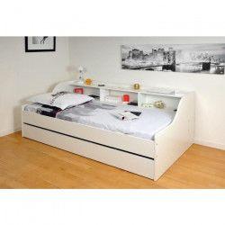 PALMA Lit enfant contemporain mélaminé blanc - l 90 x L 190 cm