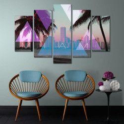 MIAMI Set de 5 toiles imprimées 100X150 cm