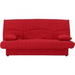 DREAM Banquette clic clac 3 places - Tissu rouge - Slyle contemporain - L 190 x P 92 cm