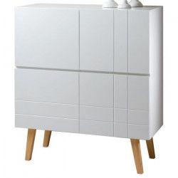 LONDON Buffet haut style scandinave blanc laqué - L 101 cm