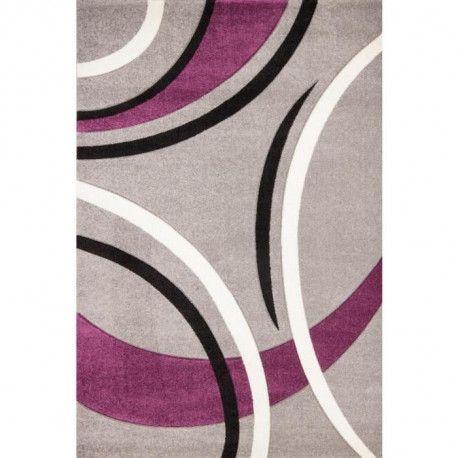 HAVANNA Tapis de salon 120x170 cm Violet, gris et noir