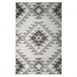 Tapis de salon contemporain TOSCANE Creme, gris et rose 120x170cm