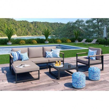 LOUNGITUDE Salon de jardin 4 places en aluminium - Gris foncé avec coussins  taupe