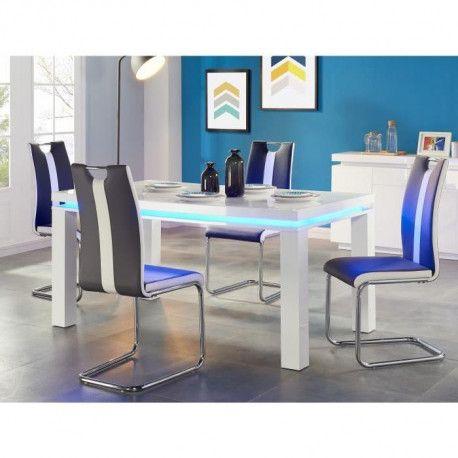 Flash Table A Manger Avec Led De 6 A 8 Personnes Style Contemporain Blanc Laque Brillant L 160 X L 90 Cm