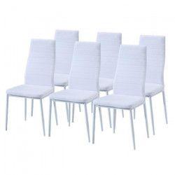SAM Lot de 6 chaises de salle a manger en simili blanc - Style contemporain - L 50 x P 44 cm
