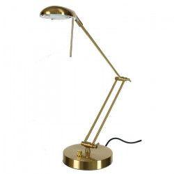 SUNLIGHT Lampe de bureau finition or satiné - H58 cm - bras articule tete orientable / variateur ? ampoule G9 40W