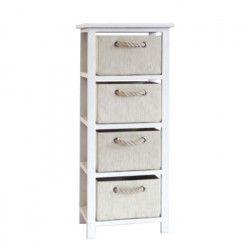 MODENA Petit meuble de rangement de salle de bain L 34 cm - Blanc laqué brillant et beige
