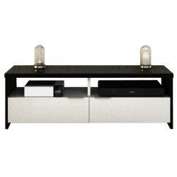 BANCO Meuble TV contemporain noir et blanc brillant - L 110 cm