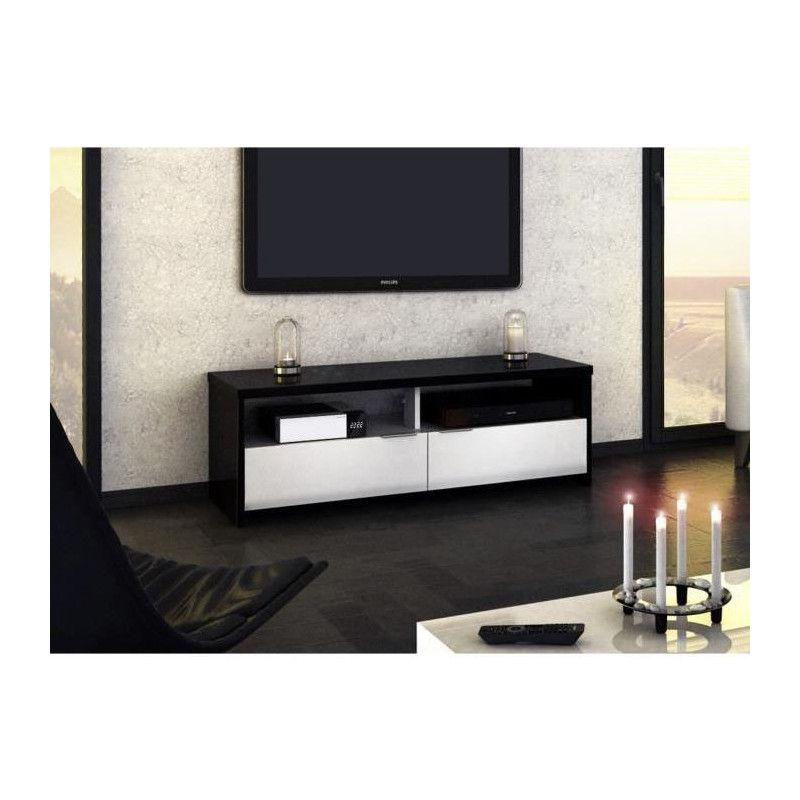 Banco Meuble Tv Contemporain Noir Et Blanc Brillant L