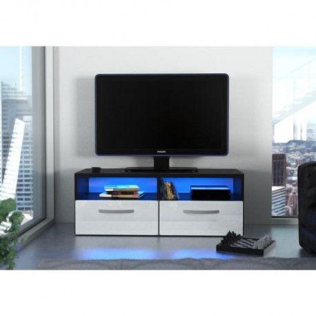 Kosmo 2 Meuble Tv Avec Led Contemporain Noir Et Blanc