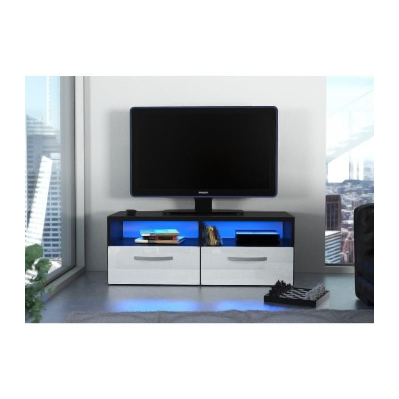 kosmo 2 meuble tv avec led contemporain noir et blanc. Black Bedroom Furniture Sets. Home Design Ideas