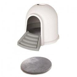 M-PETS Maison de toilette Igloo 2en1 - 45,7x59,7x43,2cm - Blanc et gris - Pour chat