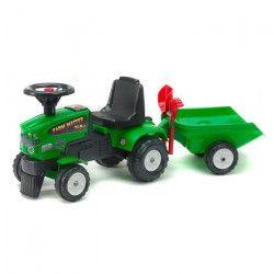 FALK Porteur Tracteur vert avec remorque, pelle et rateau