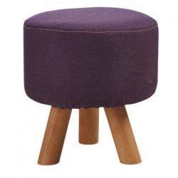 Pouf enfant pieds en bois - Revetement tissu violet - Scandinave - L 29 x P 29 cm