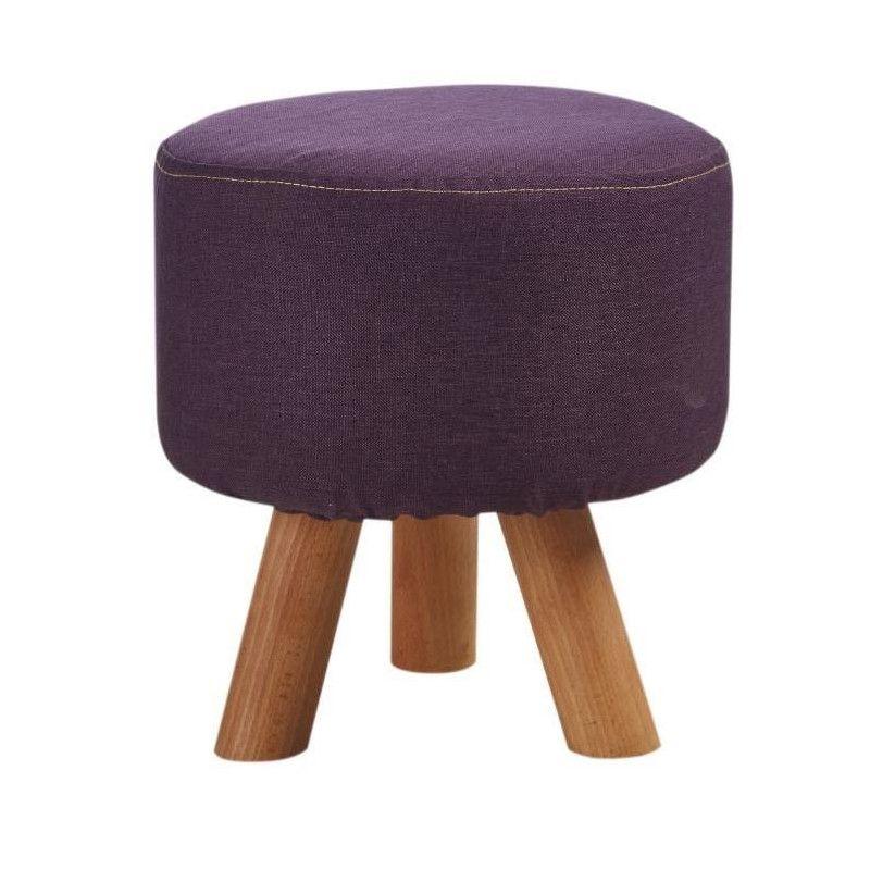 pouf enfant pieds en bois revetement tissu violet. Black Bedroom Furniture Sets. Home Design Ideas