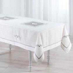 Nappe brodée Amandine 150x240 cm blanc