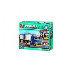 Briques Compatibles Lego - Construction - La ville - Le Camion Et Sa Gare - Sluban
