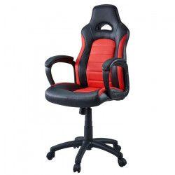 Chaise Gamer Baquet Sprint - Simili et PVC - Noir et rouge - L 68,5 x P 60 cm